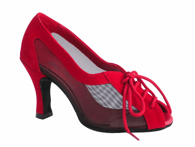 d33e3857ae34 Very Fine 1644 Peep Toe Red Velvet   Mesh w  Suede Sole - Latin Dance Shop